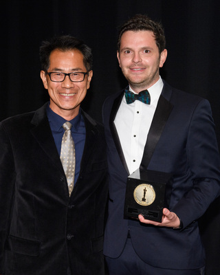 """Arthur Dong and Mathieu Faure, winner of the gold medal in the documentary film category for """"An Edited Life,"""" during the 45th Annual Student Academy Awards® on Thursday, October 11, in Beverly Hills. (credit: Matt Petit / ©A.M.P.A.S.)"""