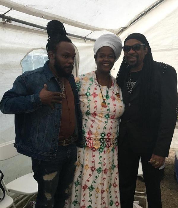 Bushman, Sister Carol and Glen Washington at the LA Reggae Vegan Fest. Photo by Stephen Cooper