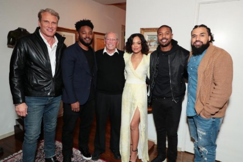 Dolph Lundgren, Writer/Producer Ryan Coogler, Producer Irwin Winkler, Tessa Thompson, Michael B. Jordan and Director Steven Caple Jr.