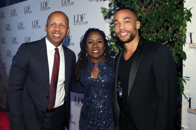 Honoree Bryan Stevenson, NAACP LDF president Sherrilyn Ifill and actor Kendrick Sampson attend the 32nd National Equal Justice Awards Dinner on November 1, 2018 at the Ziegfeld Ballroom photo by Bennett Raglin Getty Images