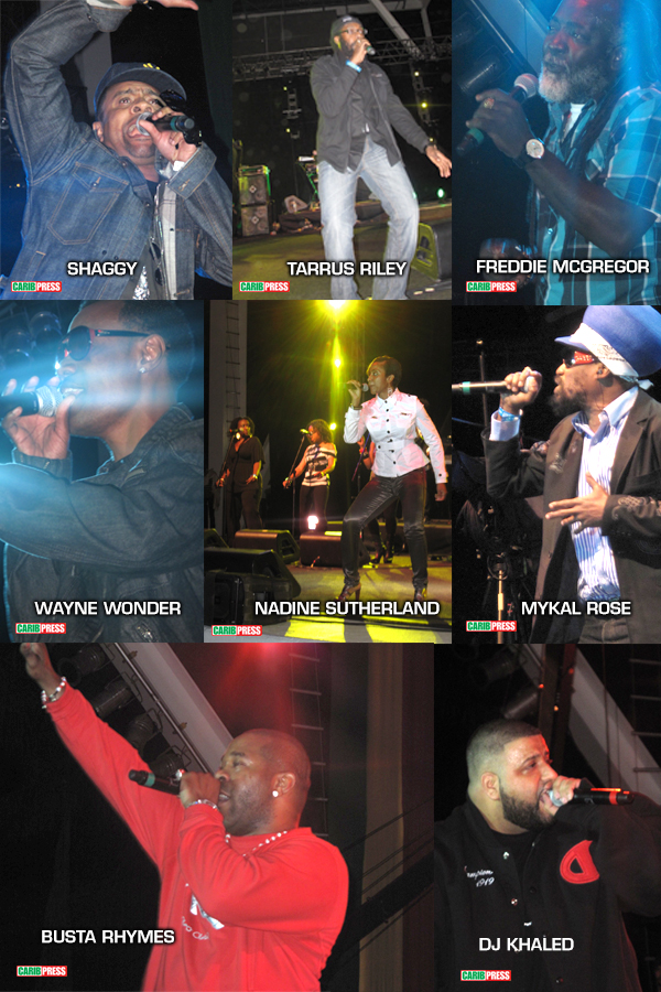 A photo collage with some of the artists who performed at Buju and Friends concert at Bayfront Amphitheater in Miami. January 16, 2011. Photos by L. Johnson. All Rights Reserved. Copyright 2018