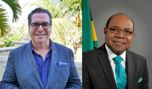 Matt Cooper of the Caribbean Hotel and Tourism Association (left) and Jamaica's Minister of Tourism Edmund Bartle