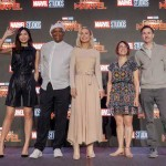 Cast of Captain Marvel including Gemma Chan, Samuel L. Jackson, Brie Larson, Directors Anna Boden and Ryan Fleck