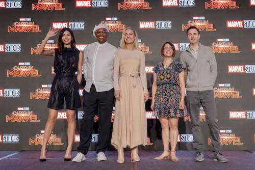 Cast of Captain Marvel including Gemma Chan, Samuel L. Jackson, Brie Larson, Directors Anna Boden and Ryan Fleck