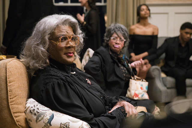 Madea (Tyler Perry, left) and Hattie (Patrice Lovely, right) in A MADEA FAMILY FUNERAL. Photo by: Chip Bergman
