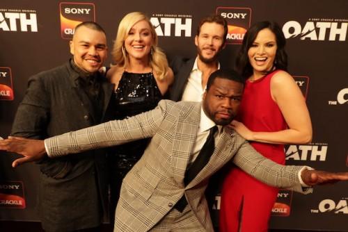 "Executive producer Curtis ""50 Cent"" Jackson and series stars (left-right) J.J. Soria, Elisabeth Röhm, Ryan Kwanten and Katrina Law"
