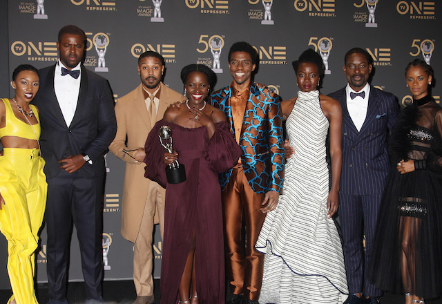 The cast of Black Panther - winner of Best Motion Picture at the NAACP Image Awards