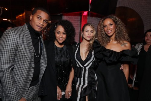 left-right) Series star Cory Hardrict, Hardrict's wife Tia Mowry, and series stars Zulay Henao and Leona Lewis