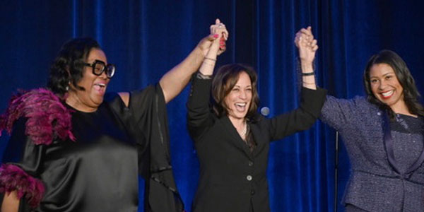 Amelia Ashley Ward, Publisher of the Sun Reporter stands with Sen. Kamala Harris and San Francisco Mayor London Breed at the 75th Anniversary of the Sun Reporter May 9, 2019 | Photo By: Alain McLaughlin