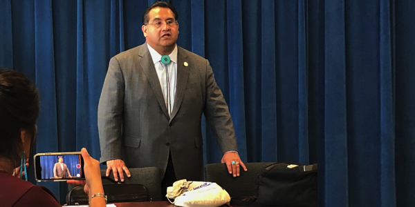 James Ramos (D-San Bernardino), the first Native American elected to the California State Assembly, addressed a gathering of Native American media and state workers ahead of the upcoming 2020 Census at a meeting in the governor's conference room on April 4.  Photo by Lynn Chan, Ethnic Media Service