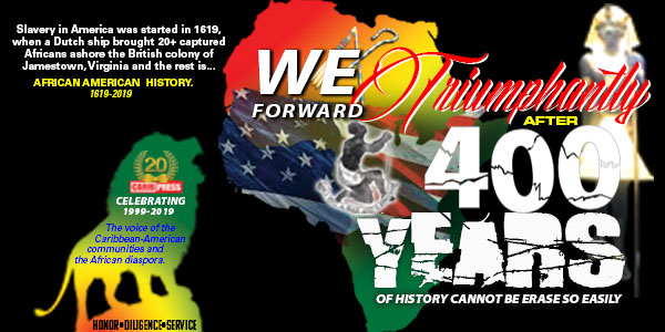 The CaribPress backdrop for the We Forward Triumphantly after 400 Years of History Cannot Be Erase So Easily Event