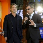 (L-R)  Brad Pitt and Leonardo DiCaprio attend the UK Premiere of Once Upon A Time...In Hollywood at Odeon Luxe Leicester Square in London