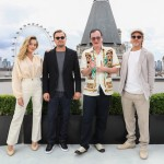 argot Robbie, Leonardo DiCaprio, Quentin Tarantino and Brad Pitt attend the Once Upon A Time…In Hollywood Photocall in London at The Corinthia Hotel in London