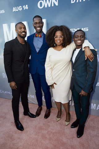 Oprah Winfrey with executive producer Michael B. Jordan, creator and executive producer Tarell Alvin McCraney, star Akili McDowell and OWN President Tina Perry