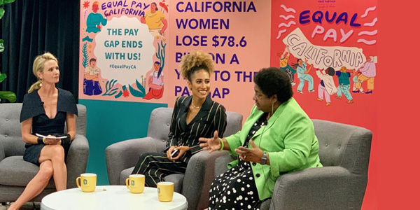 Photo Caption: First Partner Jennifer Seibel Newsom moderates a panel with the youngest editor-and-chief of Teen Vogue Elaine Welteroth and Legislative Black Caucus Chair, Assemblymember Shirley Weber (D-San Diego) to discuss real life experiences affecting women and African American women on pay equity at Sacramento State University Aug 27, 2019. Photo by CBM