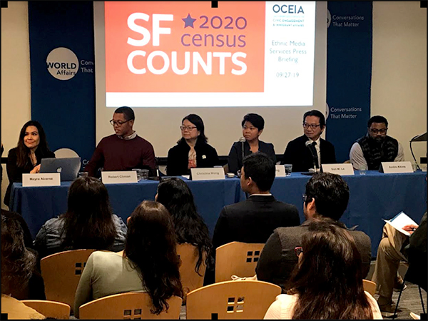 On Friday, Sept. 27, youth advocates and census experts, from left, Mayra Alvarez, president of The Children's Partnership, Robert Clinton of the San Francisco Office of Community Engagement and Immigrant Affairs, Christina Wong of the San Francisco Unified School District, Hong Mei Pang of Chinese for Affirmative Action, Son M. Le, of the U.S. Census Bureau and Andre Aikins of Stay Alive & Free, addressed issues of the importance of and challenges in ensuring that all children are counted when the 2020 Census is compiled next year. Photo by Mark Hedin, Ethnic Media Services