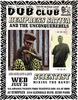 A DubclubLA flyer with Hempress Sativa and Scientist on the bill.