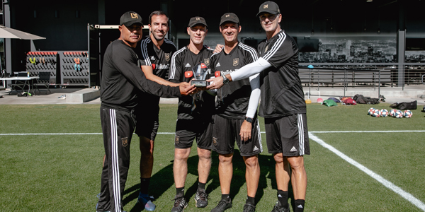 Bob Bradley (centered) with the LAFC coaching team. Photo by Paul-Michael Ochoa, courtesy LAFC