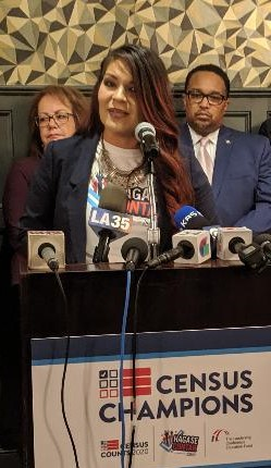 LIzette Escobedo of the NALEO Educational Fund speaks at the Los Angeles Athletic Club regarding the U.S. Census on Monday, September 23, 2019.
