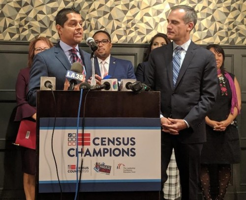 Assemblymember Miguel Santiago (53rd District) speaks about AB 1563 as Los Angeles Mayor Eric Garcetti and participants at a Census Champions press briefing listen.