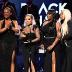 "andi Burruss, Tameka ""Tiny"" Harris, LaTocha Scott and Tamika Scott of Xscape onstage"