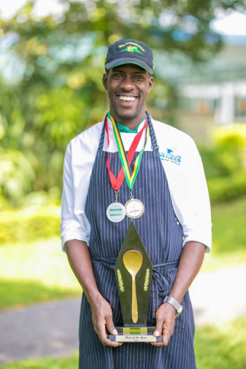 Photo caption: Jamaica Pegasus' Nickel Stenneth poses with his well-earned Chef of the Year prize won at the 2019 Taste of Jamaica Culinary Competition