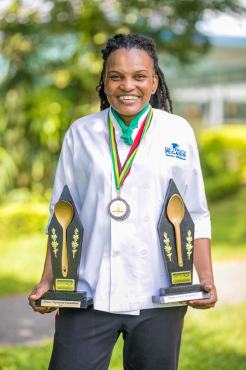 Photo caption- Jamaica Pegasus' Vanessa Mighty earned double honors at the 2019 Taste of Jamaica Culinary Competition, taking home top prizes in the Vegetarian and Lamb categories.