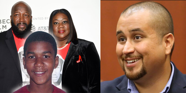 L to R: Tracy Martin and Sybrina Fulton with Trayvon Martin and George Zimmerman