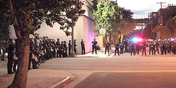 Police formation downtown, LA