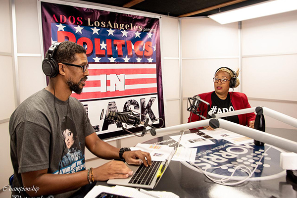 Photo by Marcus Champion: Chad Brown and Friday Jones hosts of Politics in Black Podcast in Los Angeles June 28, 2020.