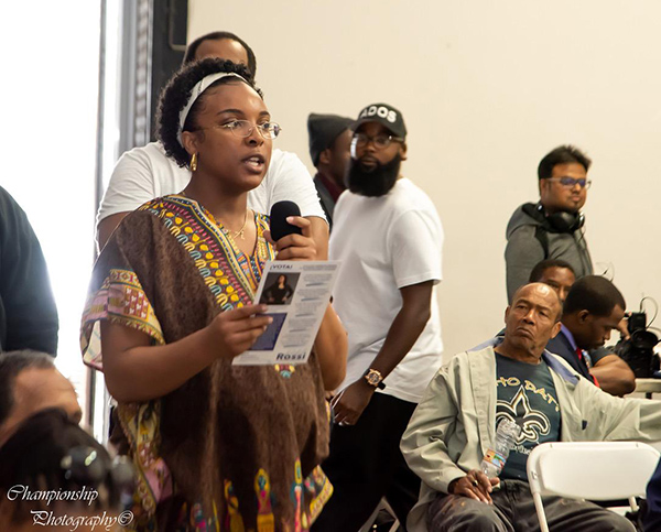 Photo by Marcus Champion:  A member of the community speaking at the Fight to Save Black LA Candidate Forum in Los Angeles February 2020.