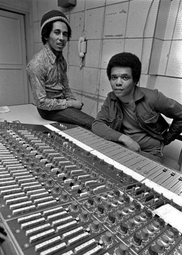 Bob Marley and Johnny Nash in recording studio.