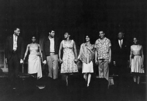 Moon on a Rainbow Shawl (1962) cast (L-R): Robert Earl Jones, Cicely Tyson, James Earl Jones, Vinnette Carroll, Ellen Holly, Bill Gunn, Melvin Stewart, and Kelly Marie Berry. (PHOTO: Bert Andrews)