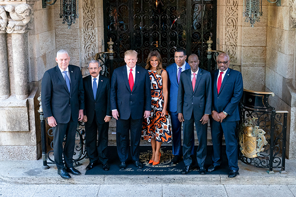 Moïse and other Caribbean leaders with former U.S. President Donald Trump in Florida in 2019 |  President Donald J. Trump and First Lady Melania Trump welcome Caribbean leaders Friday, March 22, 2019, to Mar-a-Lago in Palm Beach, Fla., from left, Prime Minister Allen Chastanet of Saint Lucia; President Danilo Medina Sanchez of the Dominican Republic; Prime Minister Andrew Holness of Jamaica; President Jovenel Moise of the Republic of Haiti and Prime Minister Hubert Minnis of the Commonwealth of the Bahamas. (Official White House Photo by Tia Dufour)
